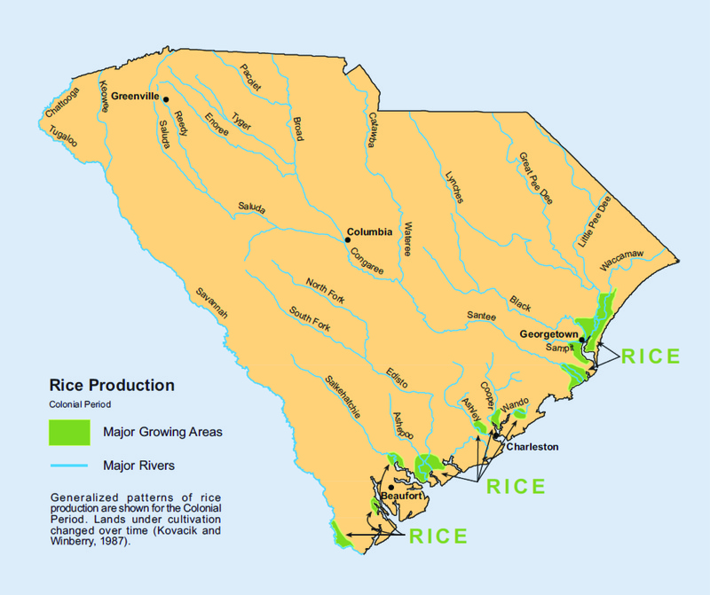 Generalized patterns of rice production in South Carolina during the Colonial Period, map created by Kovacik and Winberry, 1987, courtesy of the South Carolina Geographic Alliance.