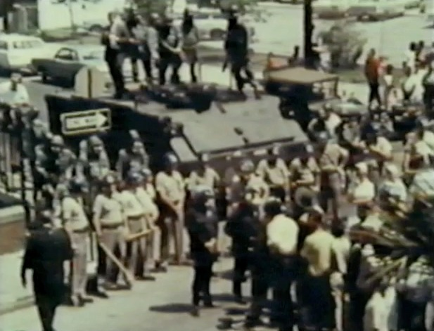 National Guardsmen and state troopers in Charleston during hospital workers' strike, Charleston, South Carolina, 1969, still image from<em> I Am Somebody</em>.