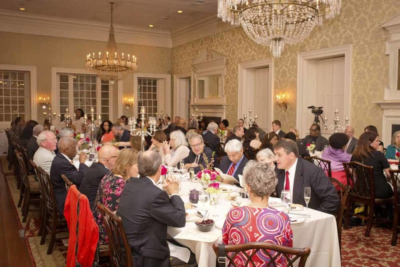Guests socializing during Nat Fuller's Feast, photograph by Jonathan Boncek, Charleston, South Carolina, April 19, 2015.