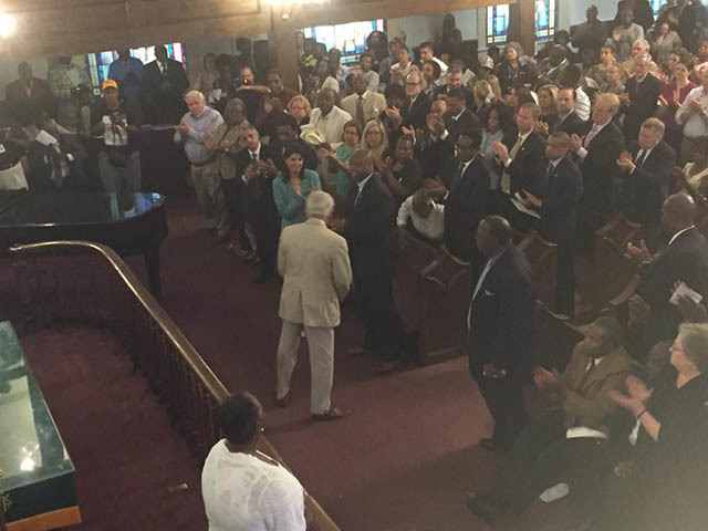 Hundreds gather for the Morris Brown AME Church Community Prayer Vigil the day after the shooting, June 18, 2015, Charleston, South Carolina, courtesy of ABC New4 WCIV-TV.