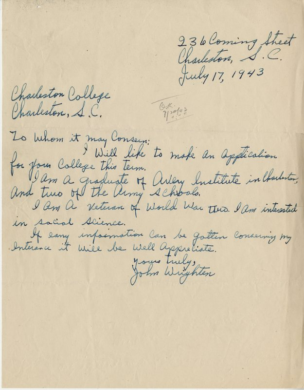 John Wrighten's first letter of inquiry to College of Charleston attempting to gain entrance into the segregated institution, Charleston, South Carolina, 1943, courtesy of College of Charleston Special Collections.