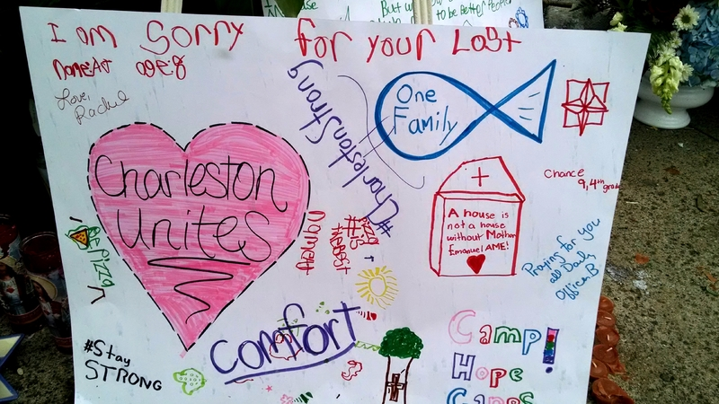 Poster left by visitors at the Emanuel AME Church, photograph by Toni Carrier, June 25, 2015, Charleston, South Carolina.