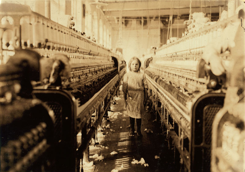 A spinner in the Mollahan Mills, photograph by Lewis Hines, Newberry, South Carolina, December 1908, courtesy of the Library of Congress, Prints and Photographs Division, National Child Labor Committee Collection.
