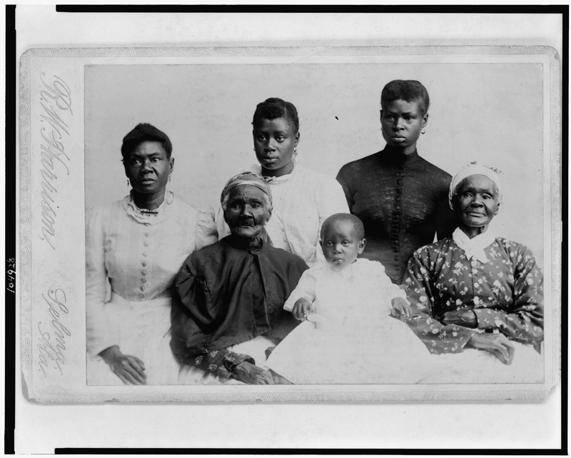 Group portrait depicting six generations of women in an African American family, R.W. Harrison, Selma, Alabama, 1893, courtesy of Library of Congress.