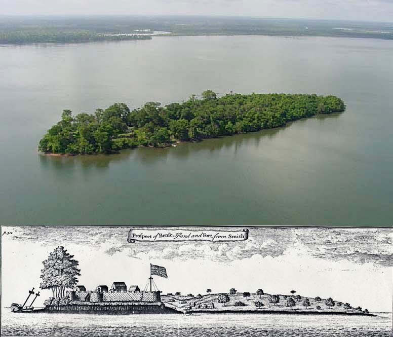 Bunce Island, Sierra Leone, ca. early 2000s (top), 1726 (bottom), images courtesy of Comet Multimedia and The Gilder Lehrman Center for the Study of Slavery, Resistance, and Abolition. The Bunce Island slave fortress was a major supplier of enslaved West Africans to rice plantations in the British colonies of South Carolina and Georgia. Slave trader Henry Laurens was Bunce Island's business agent in Charleston.
