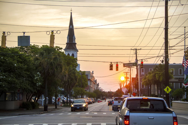 A quiet Calhoun Street with steeple of Emanuel AME Church, photograph by Brandon Coffey, June 29, 2015, Charleston, South Carolina.