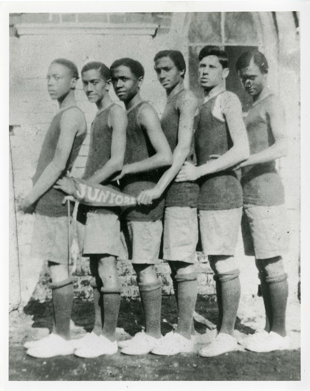 Six junior varsity basketball team players in junior class, Charleston, South Carolina, ca. 1915, courtesy of the Avery Research Center.