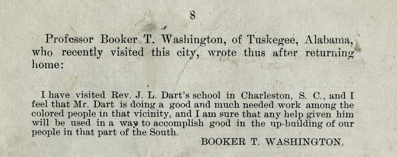 Excerpt from <em>Prospectus of the Charleston Industrial School</em>, 1901, courtesy of Dart Family Papers, Avery Research Center.