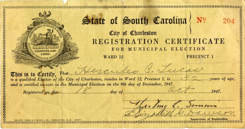 City of Charleston voter registration card for Hercules Lucas, Charleston, South Carolina, 1947, courtesy of the Avery Research Center.