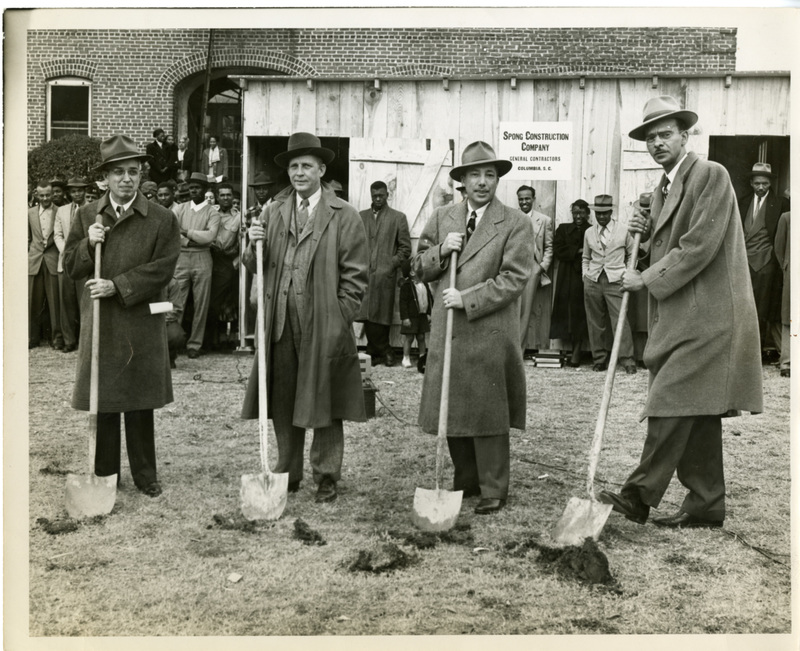 Groundbreaking of the South Carolina State Law School, Orangeburg, South Carolina, 1947, courtesy of SC State Historical Collection & Archive. To avoid desegregating the law school at the University of South Carolina, state leaders hastily established a law school at the all-Black South Carolina State College in response to John Wrighten's lawsuit.