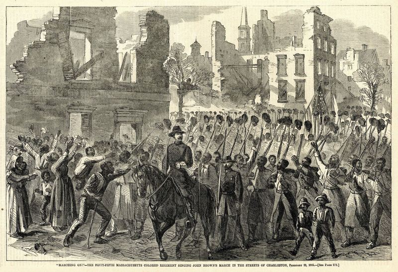 Illustration of the 55th Massachusetts Regiment marching on the streets of Charleston, Harper's Weekly, 1865, courtesy of the Charleston County Public Library.