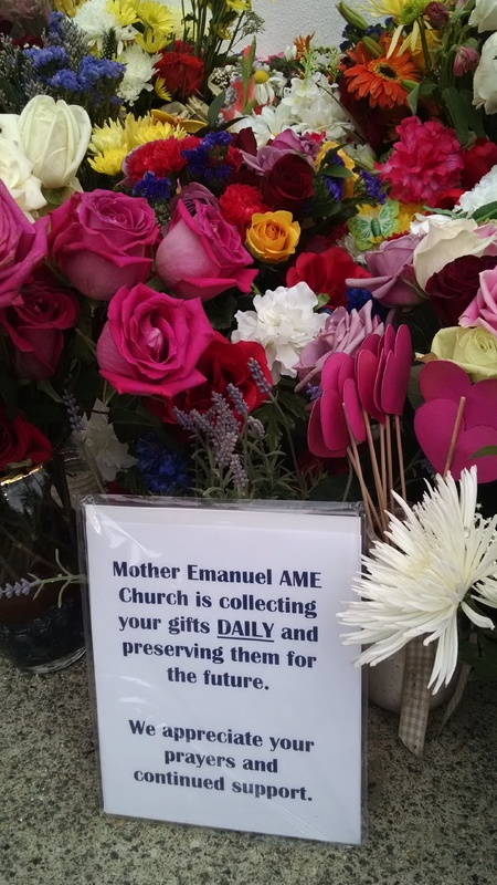Sign left for visitors outside of Emanuel AME Church, photograph by Toni Carrier, June 25, 2015, Charleston, South Carolina.
