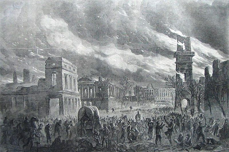The Burning of Columbia, February 17, 1865, a wood engraving sketched by William Waud of Columbia, South Carolina, published in Harper's Weekly on April 8, 1865, courtesy of the Library of Congress.