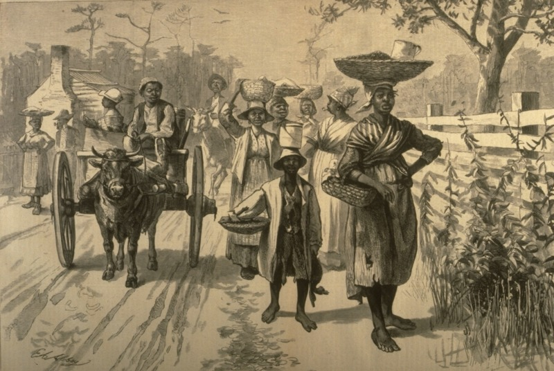 Freed people going to a market, from Harper's Weekly Magazine, Savannah, Georgia, 1875, courtesy of Slavery Images.