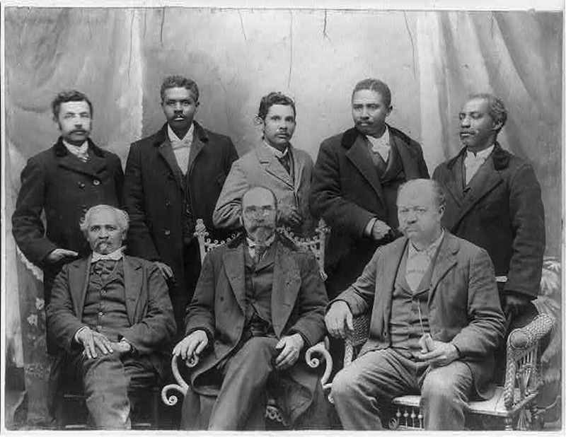"""Board of Directors of the Coleman Manufacturing Co.- the only Negro cotton mill in the U.S.,"" ca. 1899, Concord, North Carolina,  courtesy of the Library of Congress, Prints and Photograph Division."