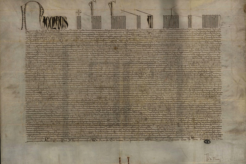 <em>Romanus pontifex</em>, papal bull of Pope Nicolas V, Portugal, 8 January 1455, courtesy of the Arqivo Nacional da Torre do Tombo, Lisbon, Portugal.
