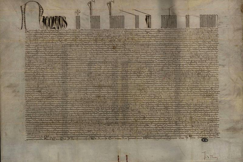 <em>Romanus pontifex</em>, papal bull of Pope Nicolas V, Portugal, 8 January 1455, courtesy of the Arqivo Nacional da Torre do Tombo, Lisbon, Portugal.