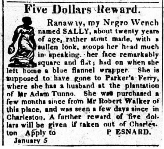 Runaway advertisement for Sally, Charleston Mercury, January 5, 1825.