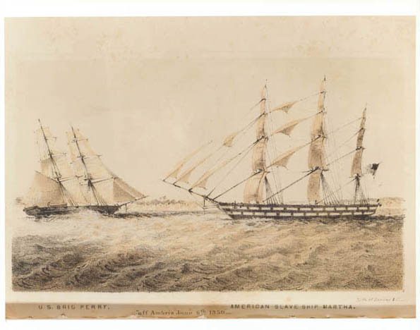 """U.S. brig Perry [confronting] American slave ship Martha off Ambriz, June 6, 1850,"" from <em>Africa and the American Flag</em> by Commodore Andrew Hull Foote, 1854, courtesy of the U.S. Navy History Center."