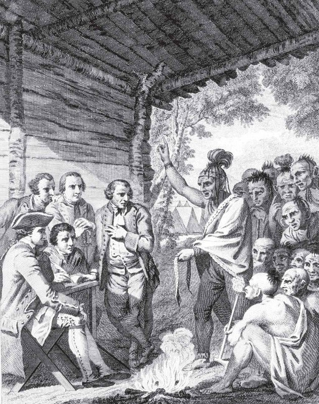 Delegate of the Shawnee negotiating the return of English hostages and peace in October of 1764, illustration of engraving by Charles Grignion, 1766, courtesy of Beinecke Rare Book and Manuscript Library, Yale University Library.
