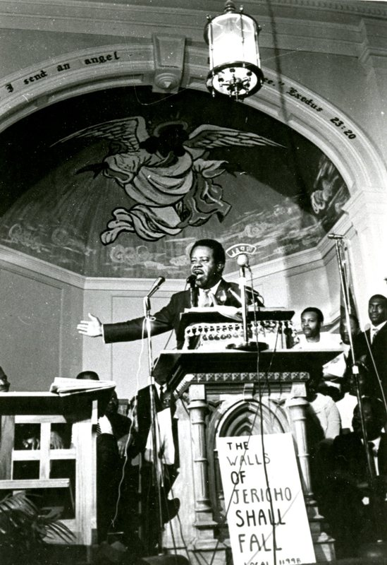 Ralph Abernathy speaking at Morris Brown A. M. E Church, Charleston, South Carolina, 1969, Courtesy of Avery Research Center.
