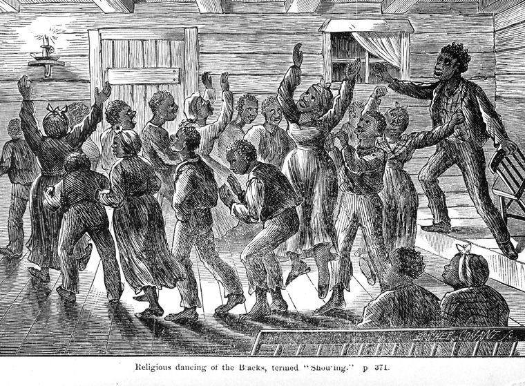 """""""Religious dancing of the Blacks, termed 'Shouting,'"""" from American News Co., Charles Stearns, New York, New York, 1872, courtesy of the New York Public Library Digital Collections."""