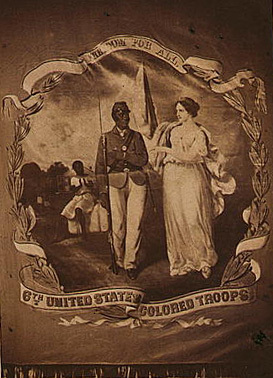 """""""Freedom for all—6th United States Colored Troops,"""" ca. 1864, Gladstone Collection of African American Photographs, courtesy of the Library of Congress Prints and Photographs Division."""