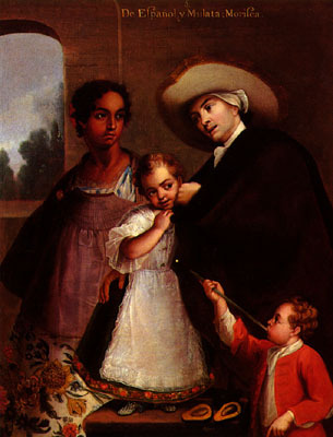 Spaniard and Mulatto, painting by Miguel Cabrera, 1763, courtesy of the Van Pelt Library, University of Pennsylvania.