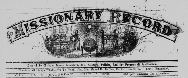 Weekly African-American newspaper, Charleston Missionary Record, July 5, 1873, courtesy of the Library of Congress.