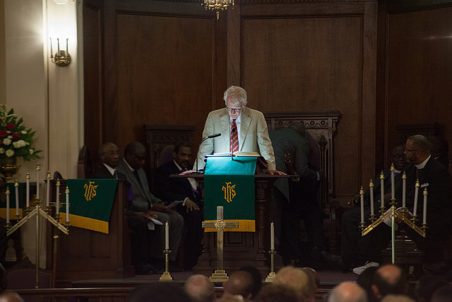 Charleston Mayor Joe Riley speaking to the audience of the Morris Brown AME Church vigil, photograph by Mike Ledford, June 18, 2015, Charleston, South Carolina.