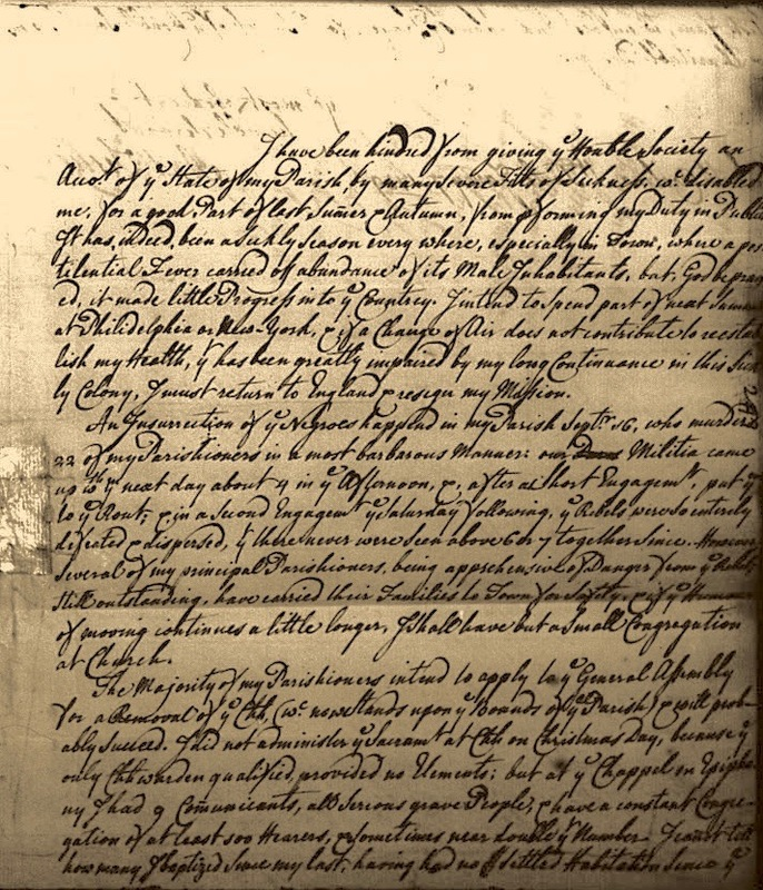 Letter from Reverend Leslie to the Society for the Propagation of the Gospel, St Paul's Parish, Carolina Colony, circa 1740, courtesy of the Library of Congress.