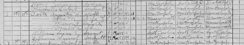 1910 census record of Samuel Williams and his daughter Susan, United States Census Bureau, Vermont, 1910, courtesy of FamilySearch.
