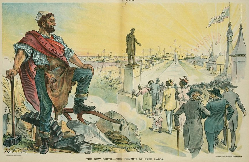 """The new South - the triumph of free labor,"" New York, October 1895, illustration by Udo J. Keppler, <em>Puck</em>, courtesy of Library of Congress Prints and Photographs Division."