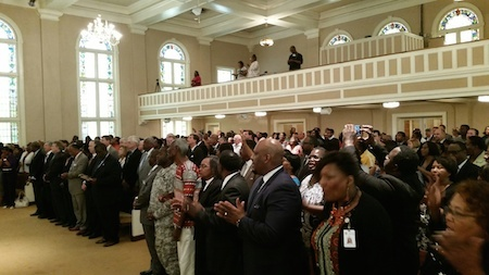 Hundreds of people gather at Bethel AME Church for a prayer vigil for the Emanuel AME Church, June 18, 2015, Columbia, South Carolina, courtesy of <em>Free Times</em>.
