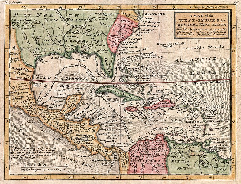 Map of West Indies and Caribbean, created by Herman Moll, 1732, courtesy of Geographicus Rare Antique Maps. Map reveals relatively close proximity of Carolina colony and British West Indies. Early settlement in Carolina was strongly influenced by trade with Barbadians and other West Indian settlers, as well as emigration from the West Indies of both planters and slaves to this new North American colony.