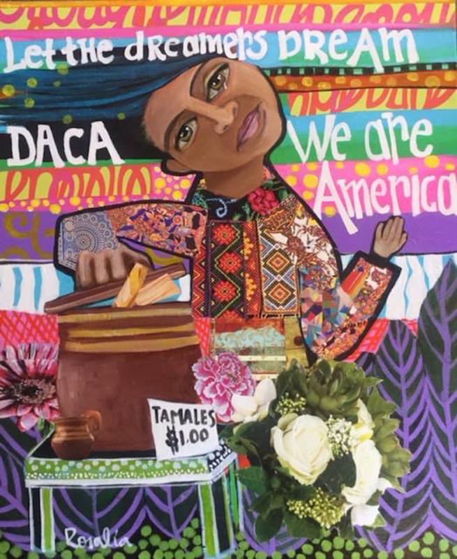 <em>Jessica</em><span>, pintura de Rosalía Torres-Weiner, Charlotte, Carolina del Norte. Torres-Weiner es una artista, activista y líder comunitaria cuyo arte capta los temas, los colores y el rico simbolismo de su hogar natal de México, al tiempo que celebra la rica historia y el cambio demográfico del sur de Estados Unidos. Esta pintura muestra a Jessica Contreras, una joven activista indocumentada que lucha por su derecho a estudiar y alienta a las personas que pueden votar a ser la voz de quienes no pueden. Jessica vendía tamales para ahorrar dinero para la matrícula universitaria.</span>