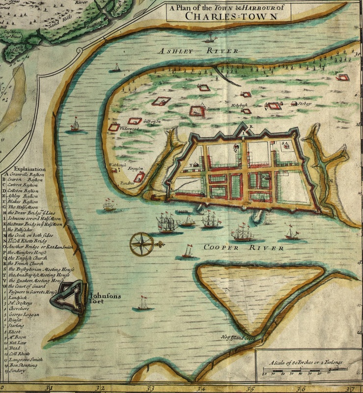 "Portion of ""A compleat description of the province of Carolina in 3 parts"" showing the walled city of Charles Town, courtesy of Library of Congress. Reverend Leslie wrote of the events of the Stono Revol"