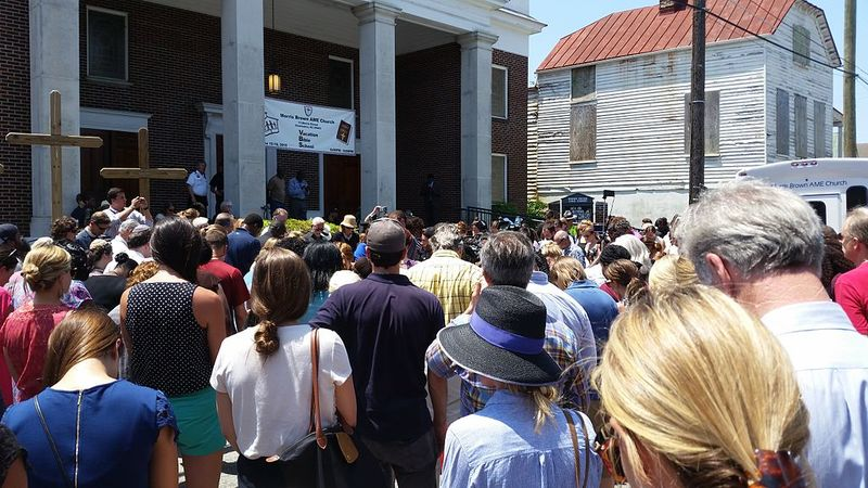 Hundreds gathered outside of Morris Brown AME Church for the vigil, photograph by Nomander, June 18, 2015, Charleston, South Carolina.