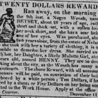 Runaway advertisement for Betsey, Charleston Courier, December 16, 1824.