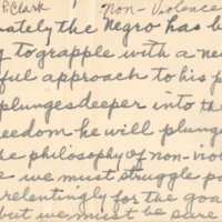 "Speech handwritten on notecards entitled 'Non-Violence,' by Septima P. Clark, n.d., Septima P. Clark Papers, courtesy of the Avery Research Center. Clark writes, ""As a race we must struggle passionately and unrelentingly for the goal of justice…"""
