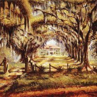 """Boone Hall Plantation"", painting by Edwin Harleston, Charleston, South Carolina, 1925."