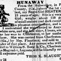 Runaway advertisement for Hester, Charleston Mercury, August 13, 1835.