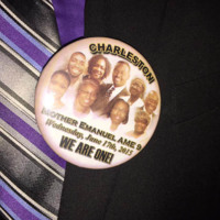 Button worn at Reverend Pinckney's funeral service, Charleston, South Carolina, courtesy of ABC New4 WCIV-TV.
