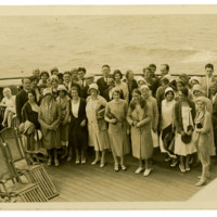 Anita Pollitzer and Elie Edson (left, standing) in group on boat, New York, ca. 1920, Anita Pollitzer Family Papers, South Carolina Historical Society.