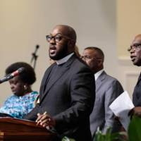 Pastor Maurice Harden of New Mt. Olivet AME Zion Church speaks during a vigil at the Kenneth Monroe Transformation Center, June 18, 2015, Rock Hill, South Carolina, courtesy of <em>The Herald</em>.