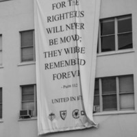 Psalm 112:6 quote hanging on building, photograph by Brandon Coffey, June 29, 2015, Charleston, South Carolina.