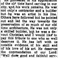 Letter to the Editor about the work of Thomas M. Pinckney after his death (part 2 of 2), written by Susan Pringle Frost, 1952, courtesy of the Preservation Society of Charleston.