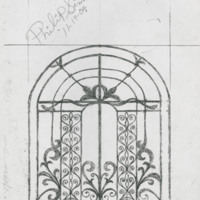 Sketch of the Charleston International Airport gate by Philip Simmons, Philip Simmons Collection, courtesy of the Avery Research Center.