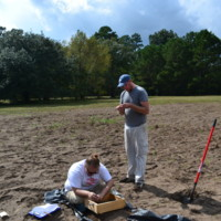 "Archaeological testing at the ""Settlement"" site, photograph by Maureen Hays, Stono Preserve, 2012."