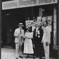 National Women's Party headquarters in Nashville, August 1920, Nashville, Tennessee, courtesy of Library of Congress Manuscript Division. From left to right: Representative John Houk of Tennessee, Anita Pollitzer, Mayor Neal of Knoxville, Tennessee, and Representative Brooks [R.I. Johnson] of Tennessee,